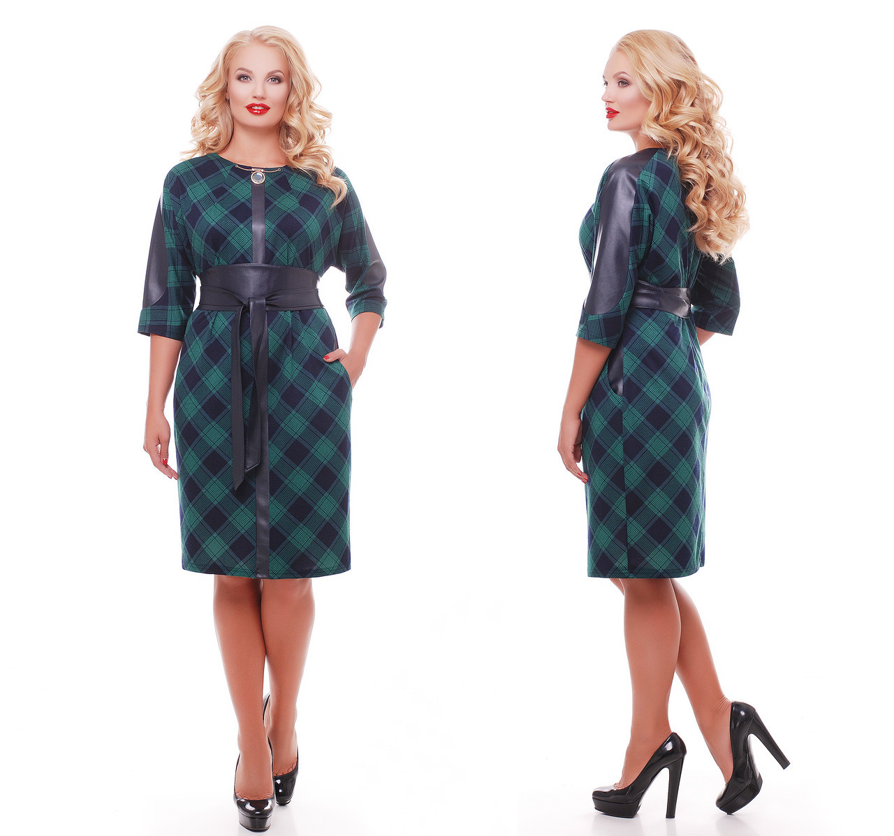 Платье женское  Кэтлин зеленое клетка