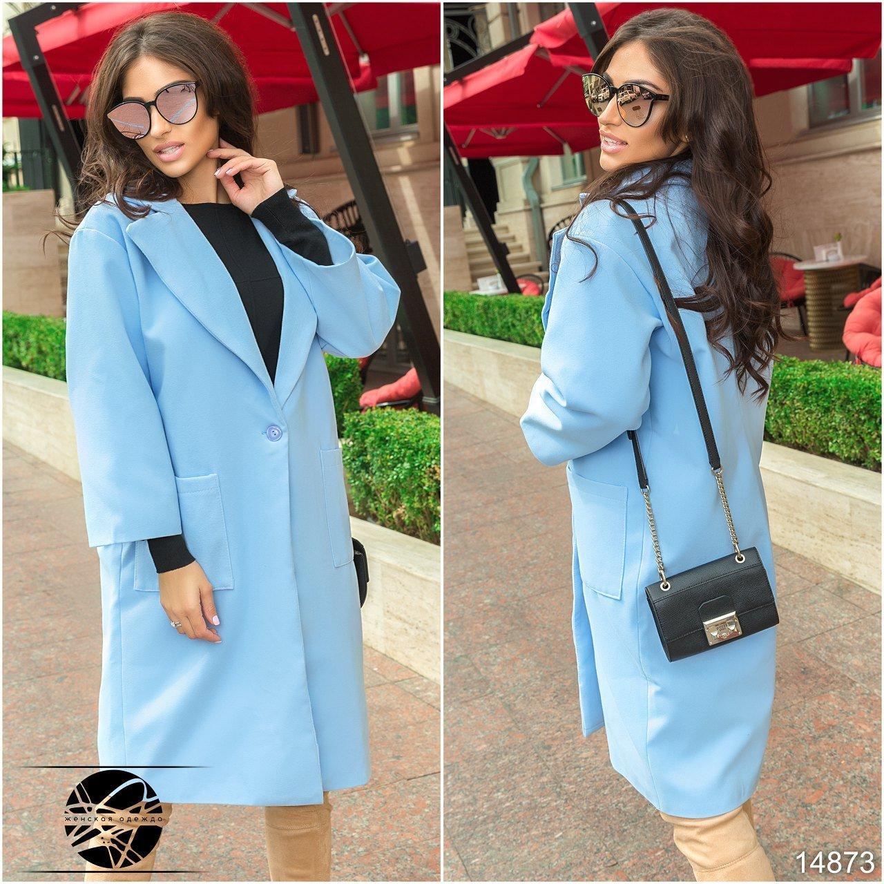 a9ba79d52fc Женское кашемировое пальто голубого цвета с карманами. Модель 14873 ...
