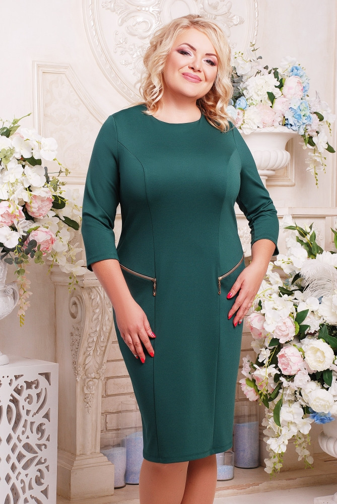 Женское платье на каждый день Ольга цвет бутылка размер 52-62 / батальные размеры