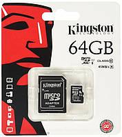 Карта памяти 64Gb Kingston microSD с адаптером class 10
