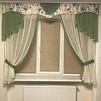 Кухонная занавеска в стиле Прованс №314 зелёный