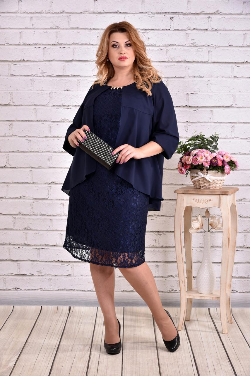 e74b5fb8e7f6275 Гипюровое платье для полных женщин 0605 синее - 740 грн. Купить в ...