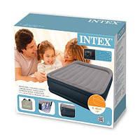 Высокая двуспальная надувная кровать Intex 67738 (203х152х47 см) встроенный насос