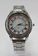 Часы наручные, Круглые, Стразы, Цинковый сплав(Без кадмия), Браслет Железный, Стразы, Серебро, длина 20.5cm