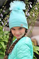 """Детская стильная шапочка для девочек 149 """"Трикотаж Бант Брошь"""" в расцветках"""