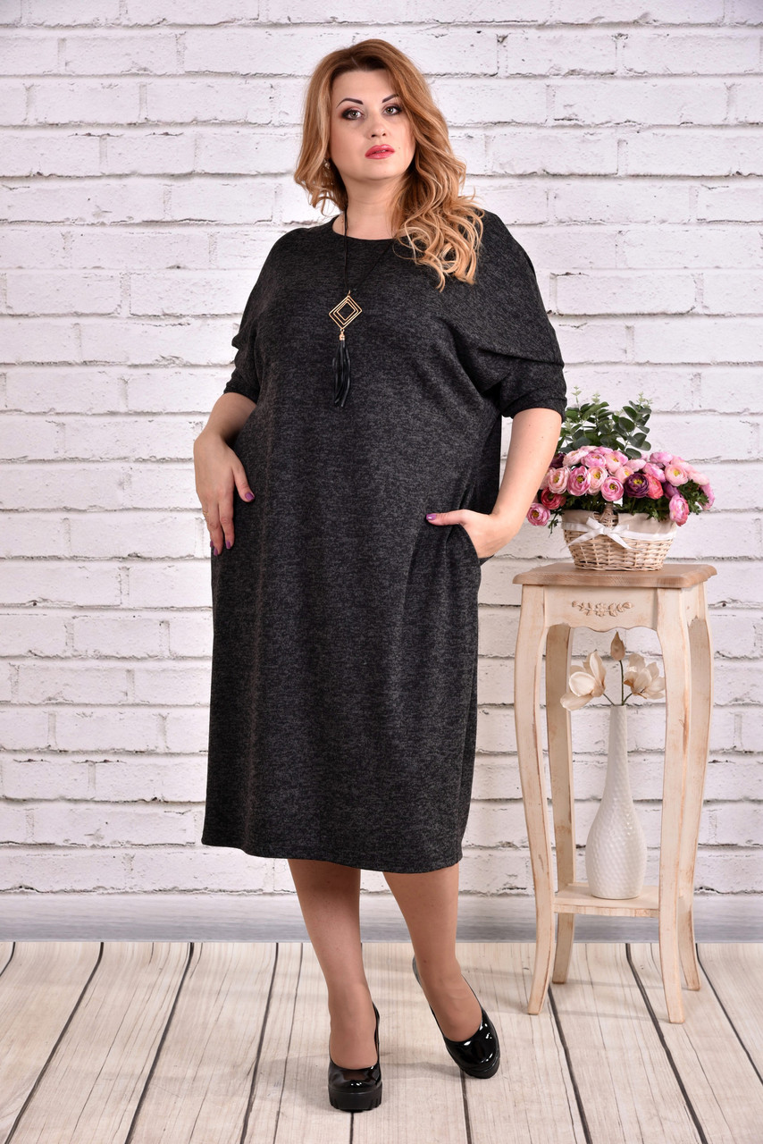 1ac04129af1f Серое теплое платье для полных женщин 0616