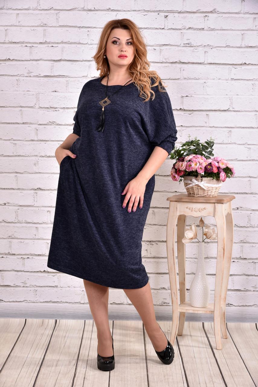 b5c1d72214409e9 Синее теплое платье для полных женщин 0616 - 530 грн. Купить в ...