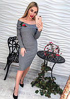 Женское модное платье с аппликацией-роза осеннее теплое (серое или черное)
