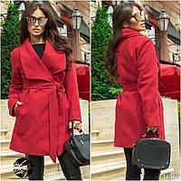 Женское кашемировое пальто красного цвета с поясом размеры 42-46, коллекция осень 2017