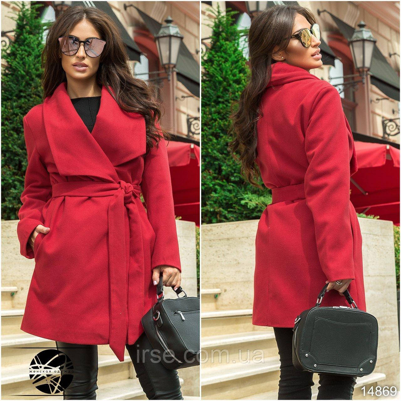 d4ce2e2c653 Женское кашемировое пальто красного цвета с поясом размеры 42-52 ...