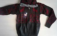 Детская вязаная кофта с оленями с капюшоном для мальчиков 10-14 лет Турция оптом