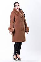 Зимнее женское пальто из кашемира с натуральным мехом песца