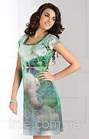Летнее женское платье зеленого цвета с рисунком. Модель Alette Top Bis
