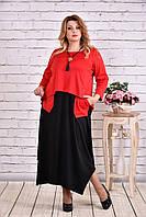 Интересное платье больших размеров красное 0623