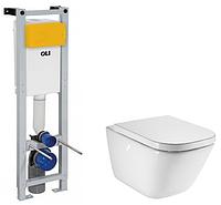 Инсталляционная система Oli Quadra с унитазом без ободка Roca Gap и крышкой slow-closing микролифт, в Днепре
