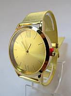Часы наручные, Круглые, Метки+Римские, Цинковый сплав(Без кадмия), Браслет Железный, Золото, длина 20.5cm