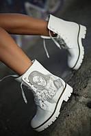 Ботинки кожаные белые Y.S. с принтом