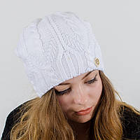 "Вязаная женская шапка, ""Лиана"" (Белый)"