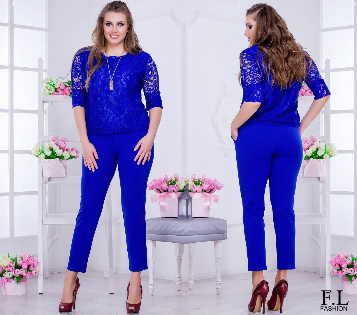 e6191d0255d Женский красивый нарядный костюм больших размеров. Блуза и брюки. Размеры  48-54 -