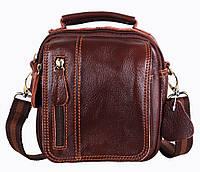 Удобная мужская кожаная сумка-барсетка коричневого цвета