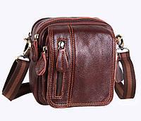 Компактная мужская кожаная сумка на пояс и через плечо коричневого цвета