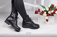 Женские демисезонные чёрные ботиночки натуральной коже