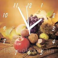 """Часы настенные для кухни на стекле """"Яблоки, орехи, виноград"""" кварцевые 40х40см"""