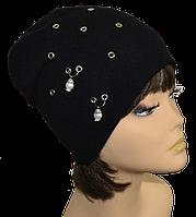 Шапка женская  колпак  модная Серьги черная, электрик, белая, лиловая, серая