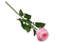 Цветок искусственный роза розовая, 70 см силикон