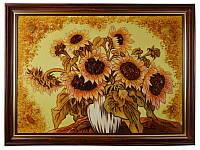 "Картина из янтаря ""ваза с подсолнухами"" 30х40 см"