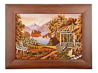 "Картина из янтаря  ""беседка у озера"" 30х40 см"