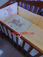 """Комплект детской постели """"Мишка с бабочкой"""" с вышивкой ТМ""""ASIK"""""""