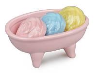 Мыльница с мылом розовая, 13,5х8,5см., керамическая Lefard