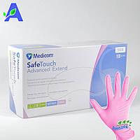 Перчатки нитриловые розовые без пудры Медиком SafeTouch Advanced Extend 100 шт в упаковке