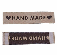 """Бирка текстильная """"Hand made"""", 6 х1,5 см, цвет св.кофейный"""