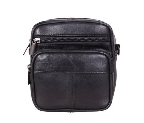 eccb910a49dc Компактная мужская кожаная сумка через плечо и на пояс черная купить ...