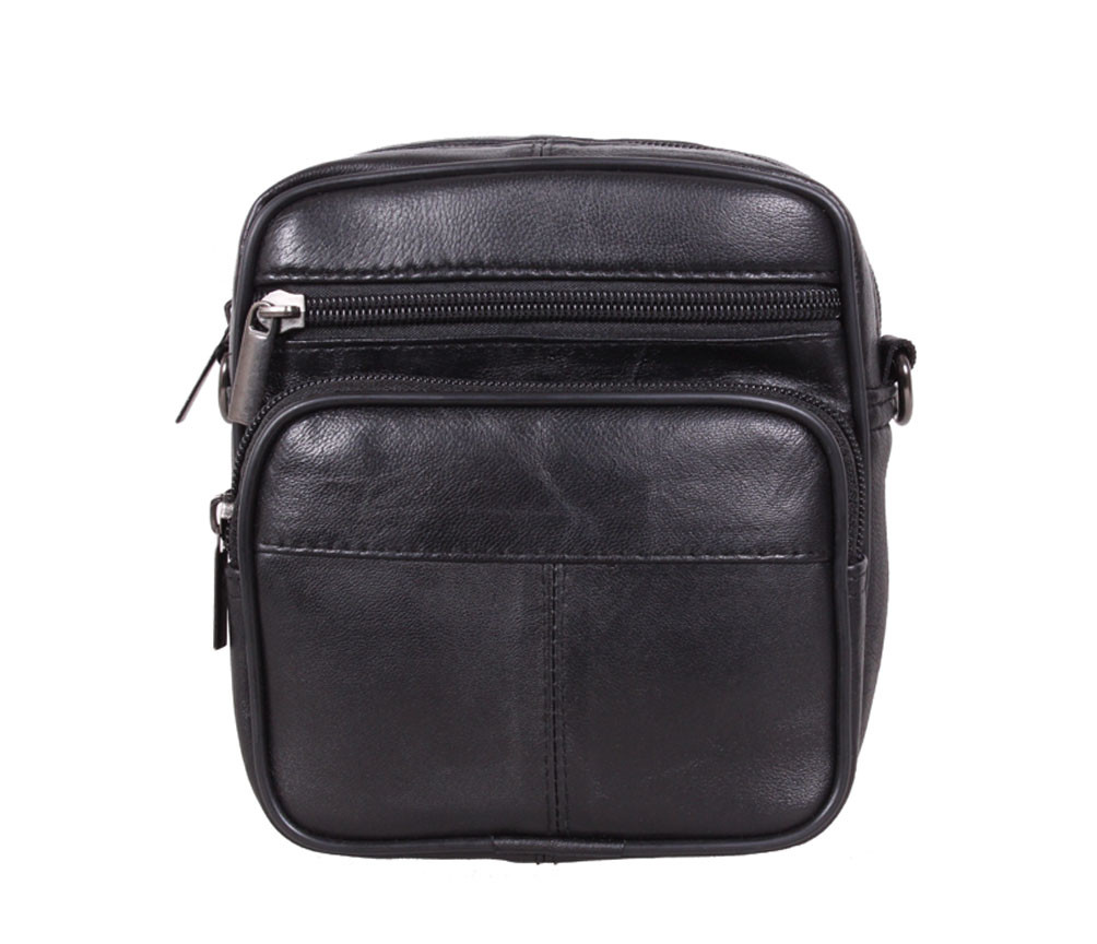 Компактная мужская кожаная сумка через плечо и на пояс черная