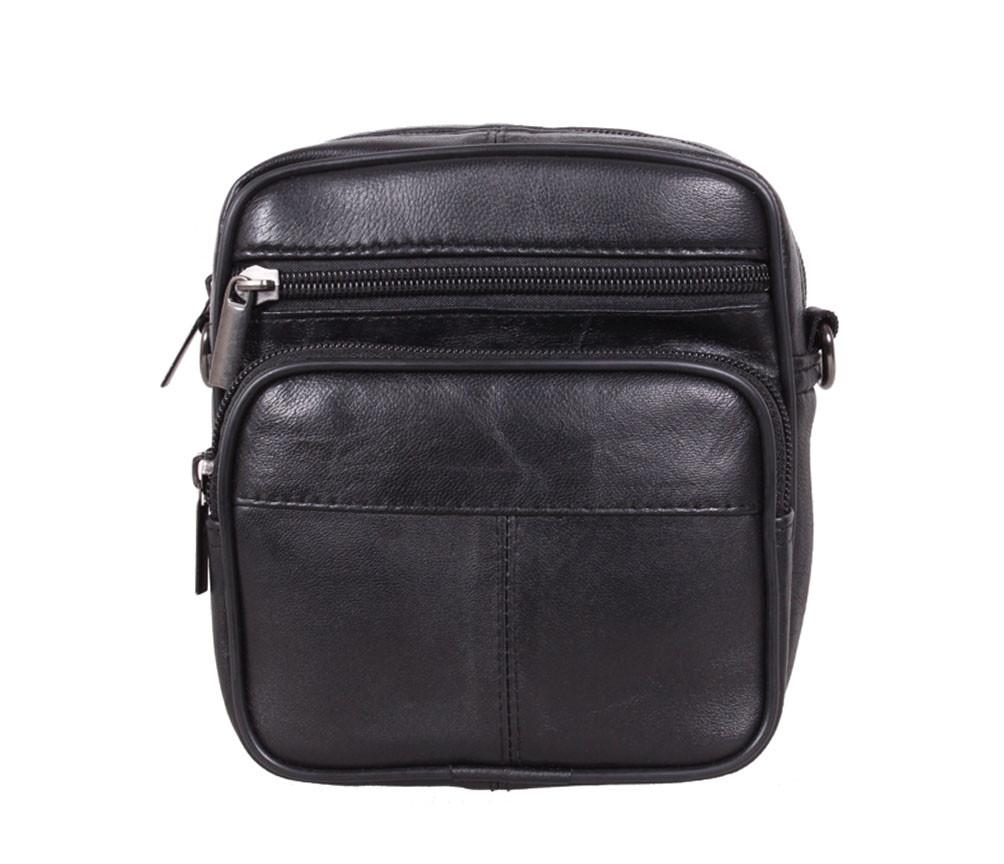 3d17175dcfbe Компактная мужская кожаная сумка через плечо и на пояс черная - АксМаркет в  Киеве