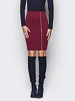 Бордовая стильная трикотажная женская юбка р.46