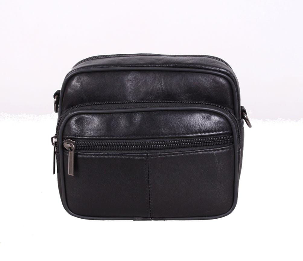 Мужская кожаная сумка для мелких предметов через плечо и на пояс черна