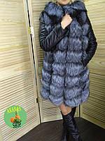 Жилет-трансформер 4 в 1 из натурального меха чернобурки с кожаными рукавами. 90 см.