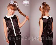 Блуза без рукавов с отложным воротником, атлас