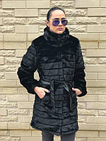 """Женская шуба из эко меха """"Норка"""" TA-009(22)-Г/с3-черная"""