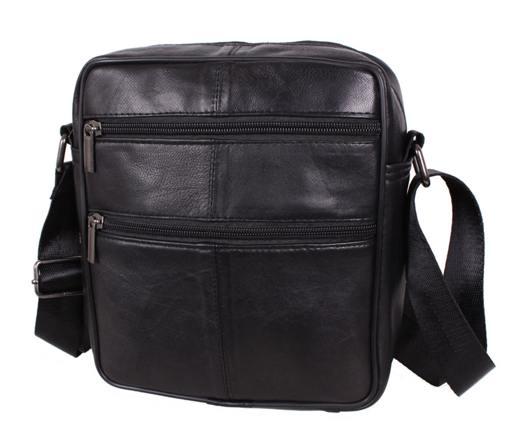 Мужская кожаная сумка через плечо черная TRSW-7703