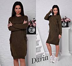 Вязаное платье со шнуровкой разных цветов, женские вязаные платья оптом от производителя, фото 3