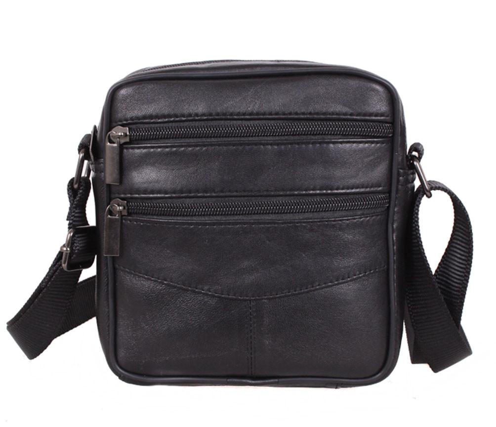 Мужская кожаная сумка для мелких предметов черная