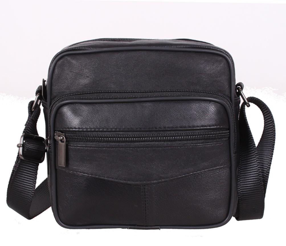 Компактная мужская кожаная сумка для мелких предметов черная