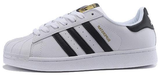 Мужские кроссовки AD Superstar ll WHITE BLACK GOLD, А-д . ТОП Реплика ААА класса.
