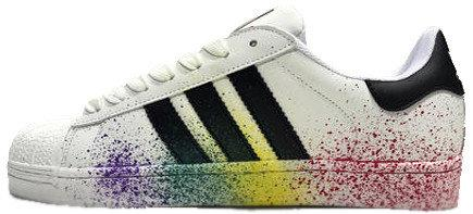 Женские кроссовки AD Superstar Rainbow Paint Splatter White . ТОП Реплика ААА класса.