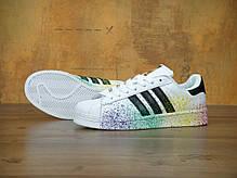 Женские кроссовки AD Superstar Rainbow Paint Splatter White . ТОП Реплика ААА класса., фото 2